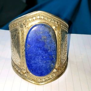 Vintage Silver and faux-Lapiz lazuli Cuff